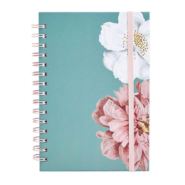Uniti Kiwi Breeze Notebook Hardcover Spiral Flowers Green Light A5, , hi-res