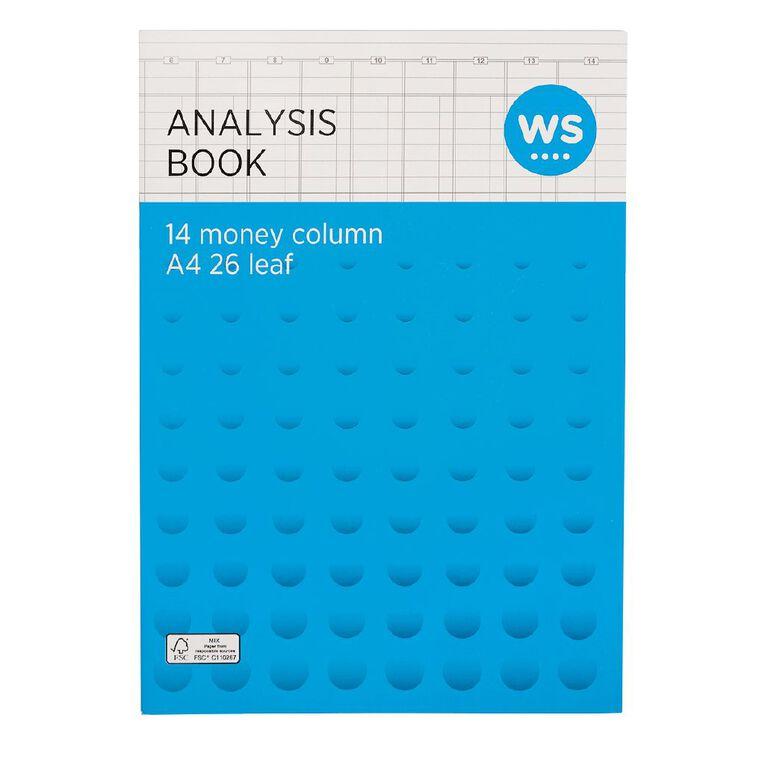 WS Analysis Book Limp 14 Column Green A4, , hi-res