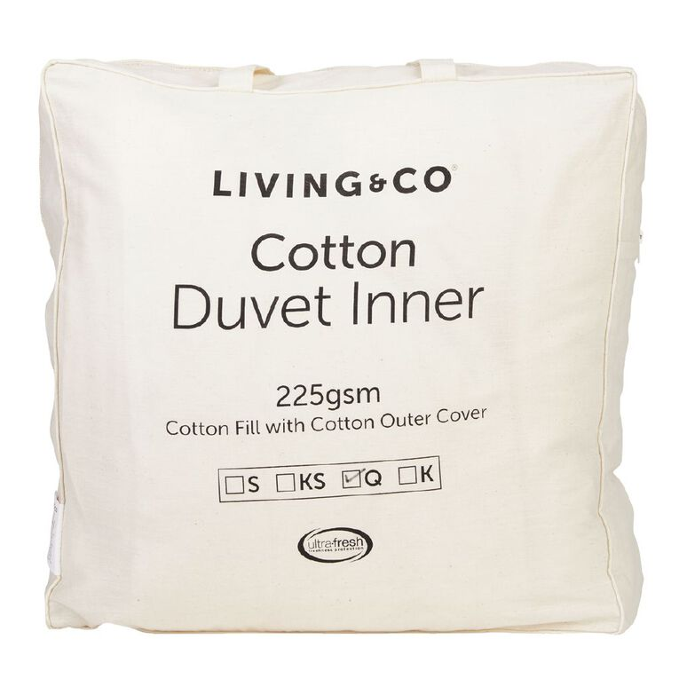 Living & Co Duvet Inner Cotton Fill White Queen, White, hi-res