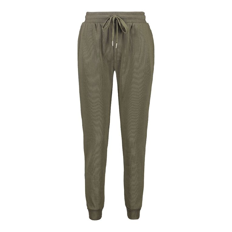 H&H Women's Cuffed Trackpants, Khaki, hi-res