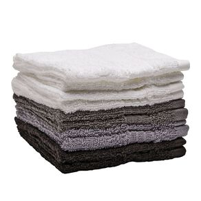 Living & Co Manhattan Face Towel 10 Pack Multi-Coloured 30cm x 30cm