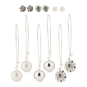 Basics Brand Diamante Pearl Droplet Earrings 6 Pairs