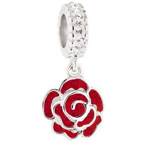 Ane Si Dora Sterling Silver CZ Rose Crystal Charm