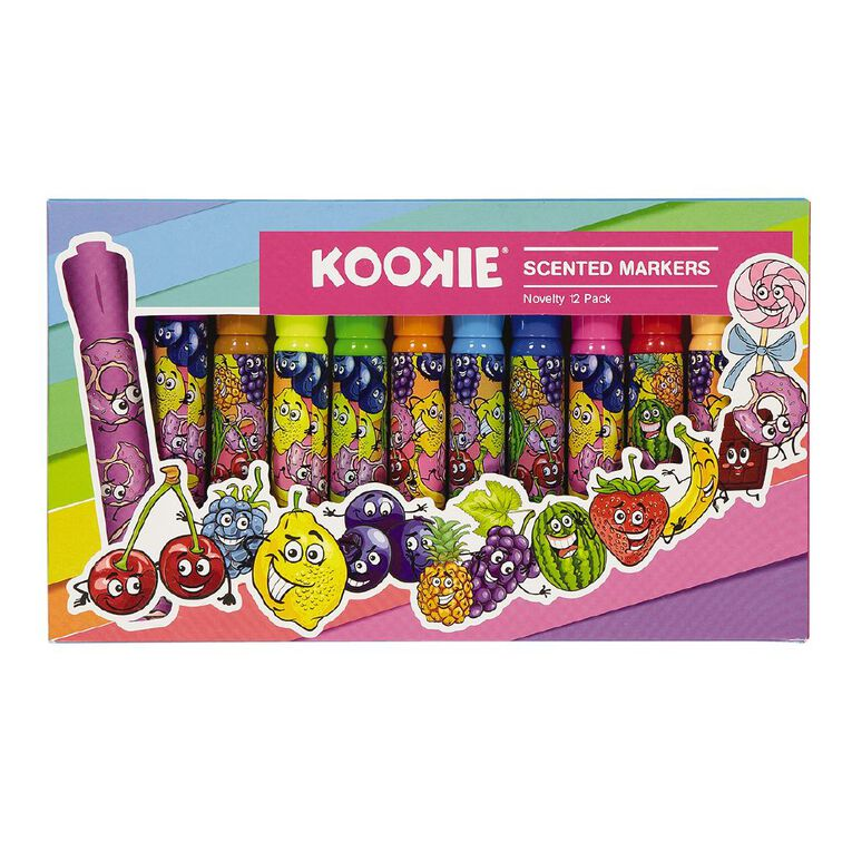 Kookie Novelty Markers Scented 12 Pack Fuits Multi-Coloured, , hi-res