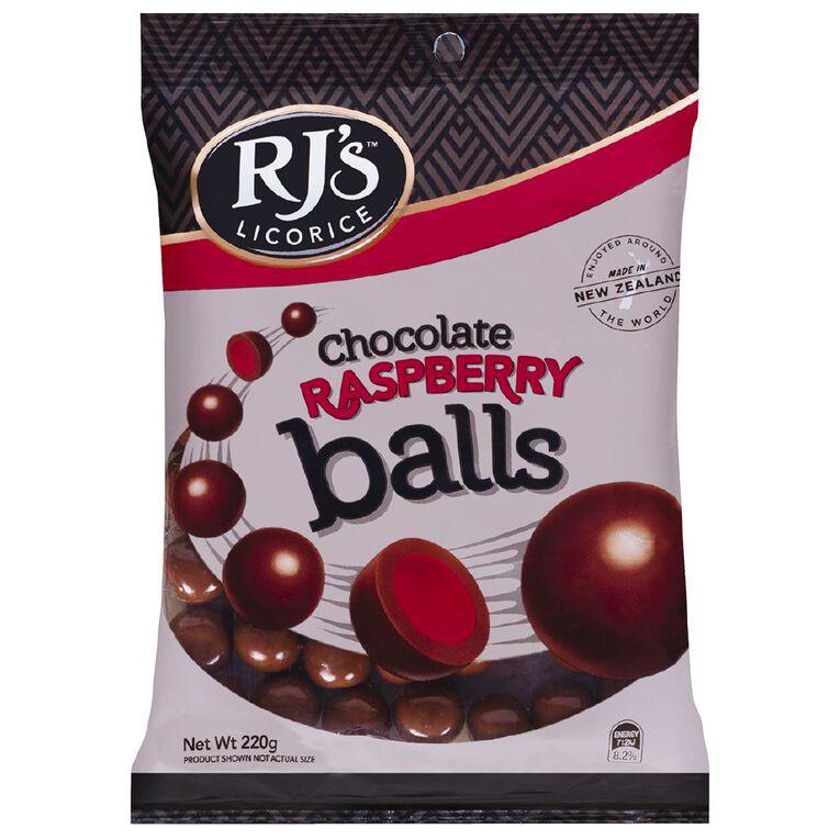RJ's Raspberry Chocolate Licorice Balls 220g, , hi-res