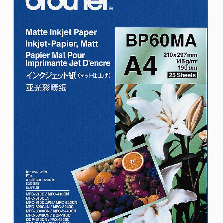 Brother Photo Paper BP60MA Matte 145gsm A4 25 Pack, , hi-res