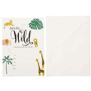 Party Inc Jungle Invitations with Envelopes 8 Pack
