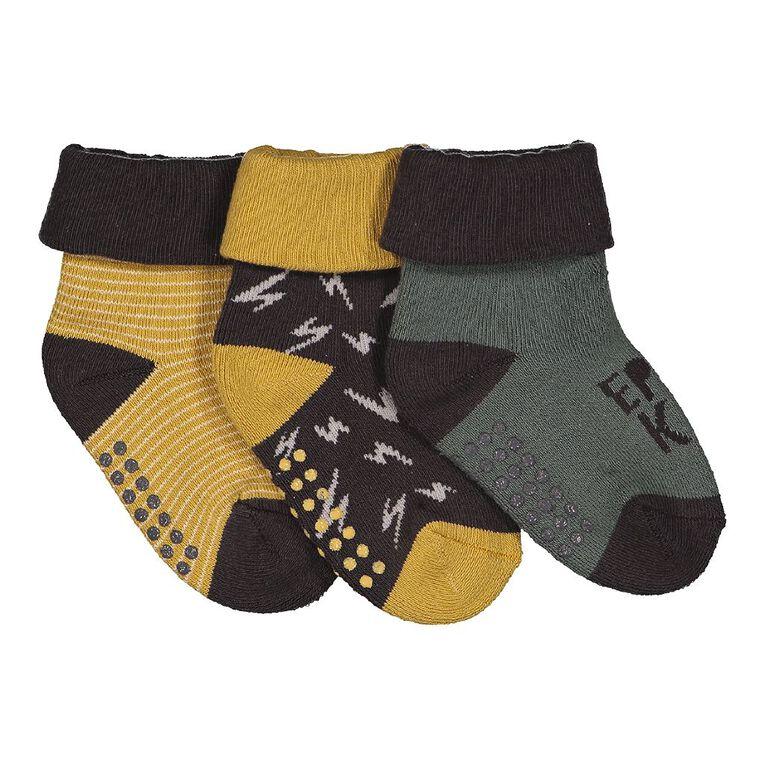 H&H Infant Boys' Bootie Terry Socks 3 Pack, Gold, hi-res