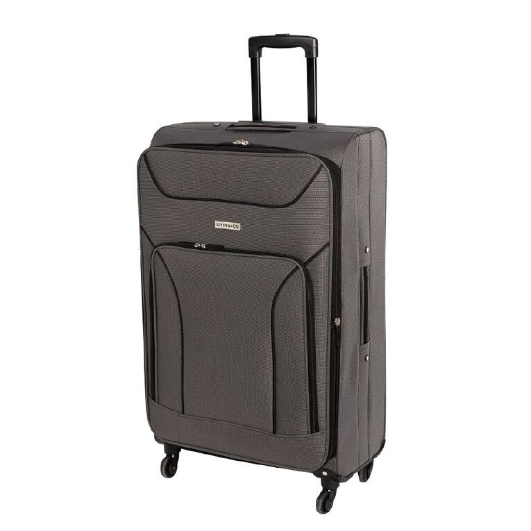Living & Co Two Tone 4 Wheel Soft Suitcase, Grey, hi-res