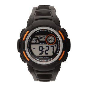 Active Intent Sports Digital Watch Silicone Strap Black & Orange