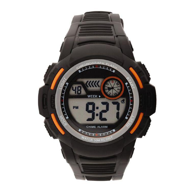 Active Intent Sports Digital Watch Silicone Strap Black & Orange, , hi-res