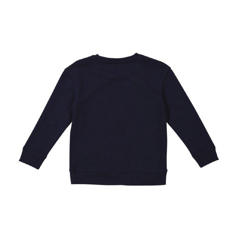 Young Original Girls' Printed Crew Sweatshirt, Blue Dark OWL, hi-res
