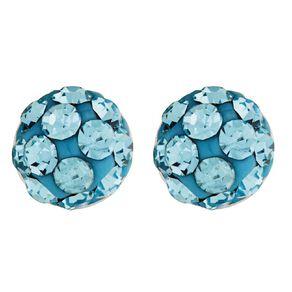 Sterling Silver Aqua Crystal Half Ball Stud Earrings