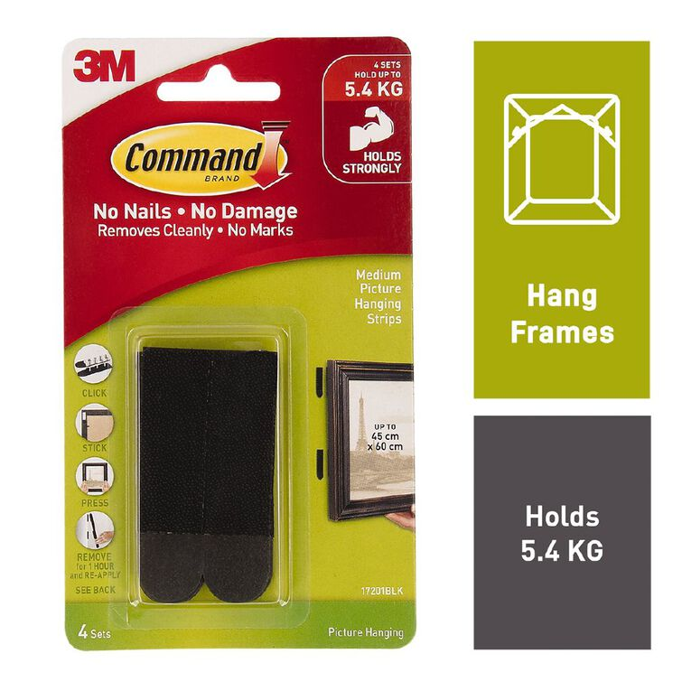 Command Picture Hanging Strips 4 Pack Black Medium, , hi-res