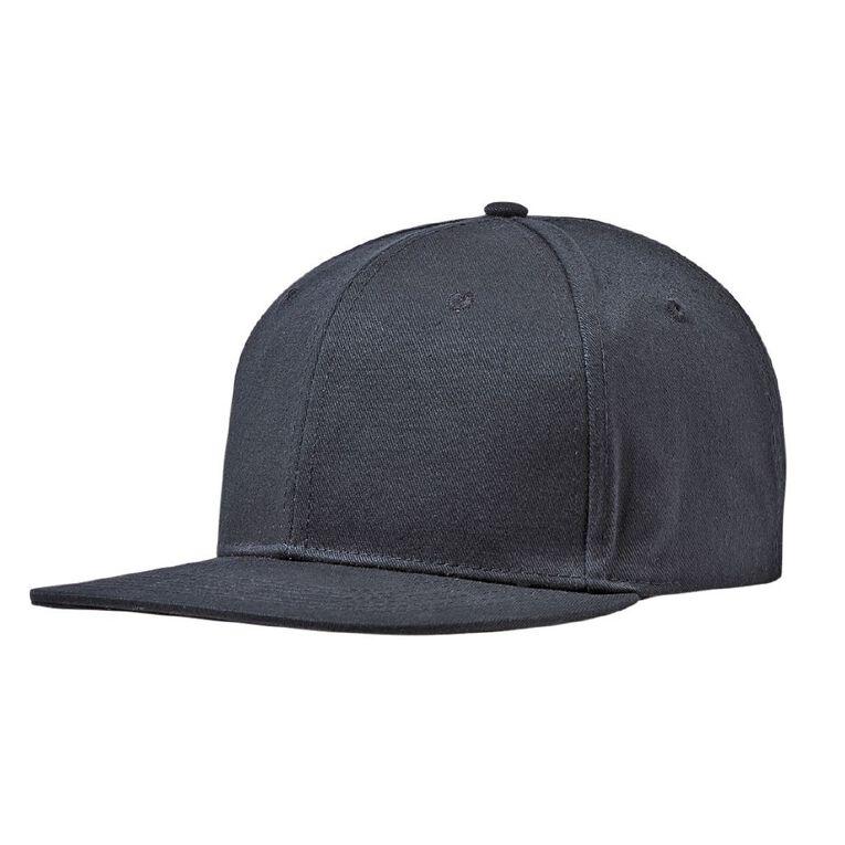 H&H Men's Twill Flat Peak Cap, Black, hi-res