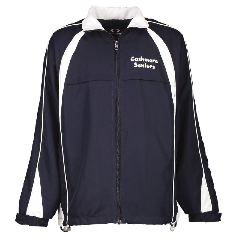Schooltex Cashmere Senior Jacket with Embroidery & Sceenprint, Navy/White, hi-res