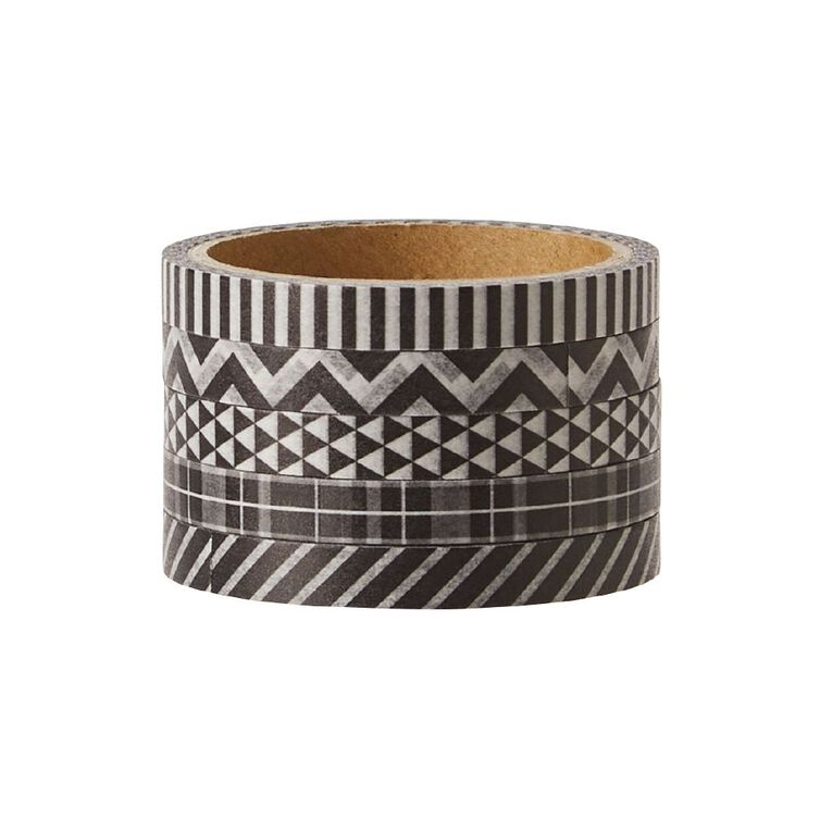 Uniti Washi Tape Thin 5 Pack Black, , hi-res image number null