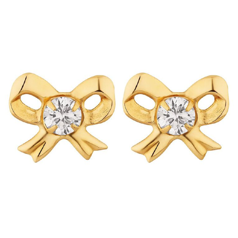9ct Gold CZ Bow Stud Earrings, , hi-res
