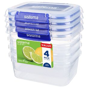 Sistema Klip It Plus Rectangular Containers 4 Pack Assorted 1L