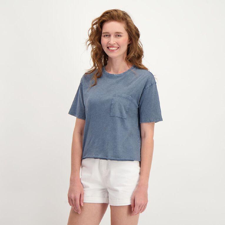 H&H Women's Short Sleeve Cropped Boyfriend Tee, Blue Dark, hi-res image number null