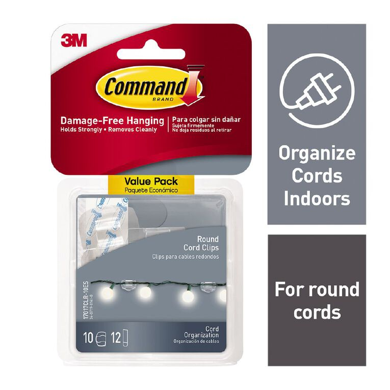 Command Round Cord Clips with Strips Value Pack Clear, , hi-res