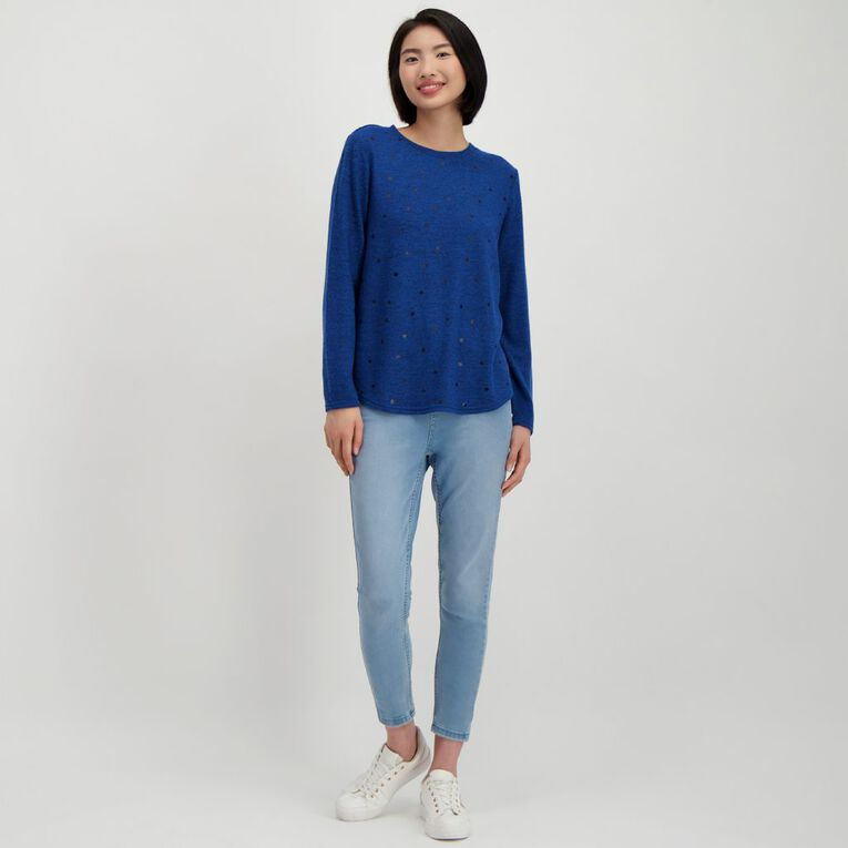 H&H Women's Brushed Knit Print Top, Blue Mid, hi-res