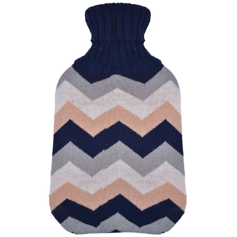Living & Co Hot Water Bottle Cover Knitted Chevron, , hi-res