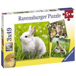 Ravensburger Cute Bunnies Puzzle 3x49 Piece Puzzle
