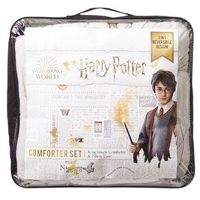 Harry Potter Comforter Set Houses Blue King Single