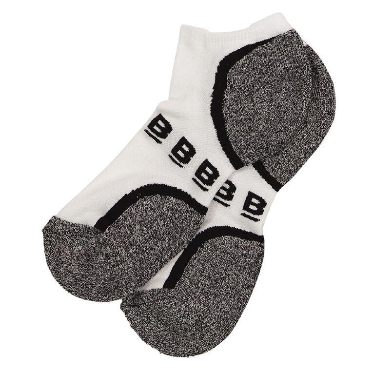 B FOR BONDS Men's Active Low Cut Socks 2 Pack, White, hi-res
