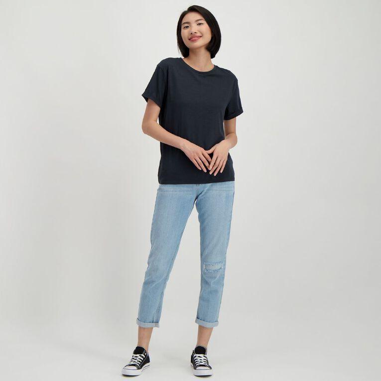 H&H Women's Oversized Roll Sleeve Tee, Grey Dark, hi-res