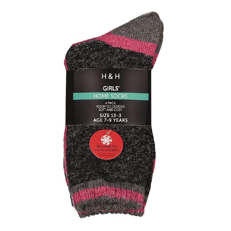 H&H Girls' Home Socks 4 Pack, Black, hi-res image number null