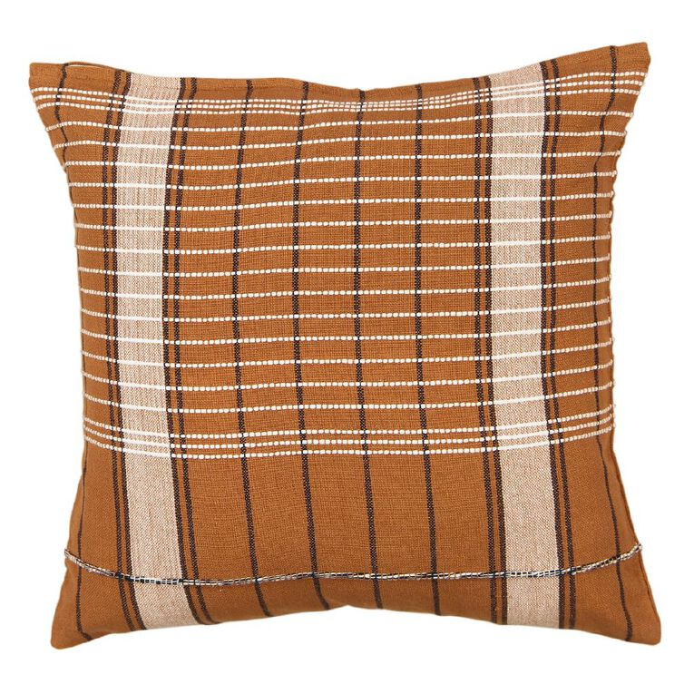 Living & Co Jacquard Cushion Brown 45cm x 45cm, Brown, hi-res