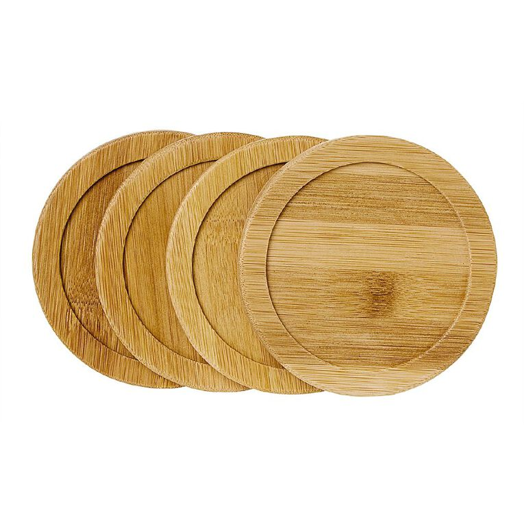 Living & Co Bamboo Coaster Round 4 Pack, , hi-res