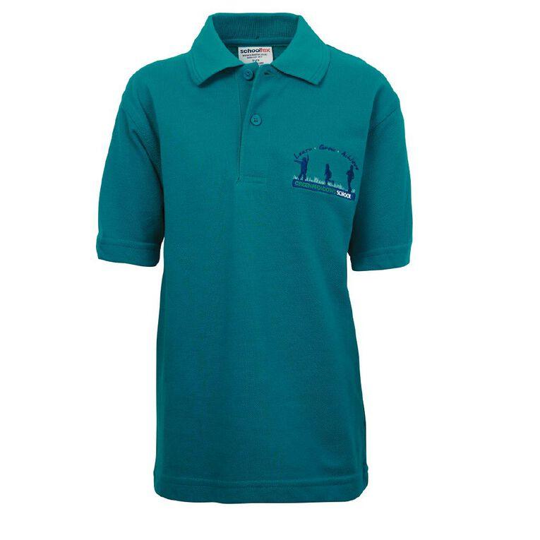 Schooltex Greenmeadows School Short Sleeve Polo, Jade, hi-res