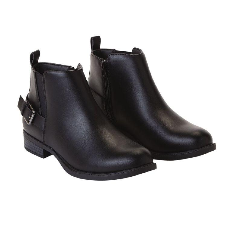 H&H Flat Buckle Boots, Black, hi-res