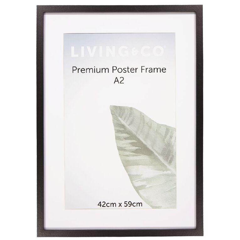 Living & Co Premium Poster Frame Black A3, Black, hi-res