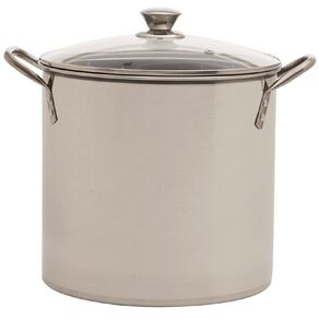 Living & Co Stainless Steel Stockpot with Glass Lid Silver 10L