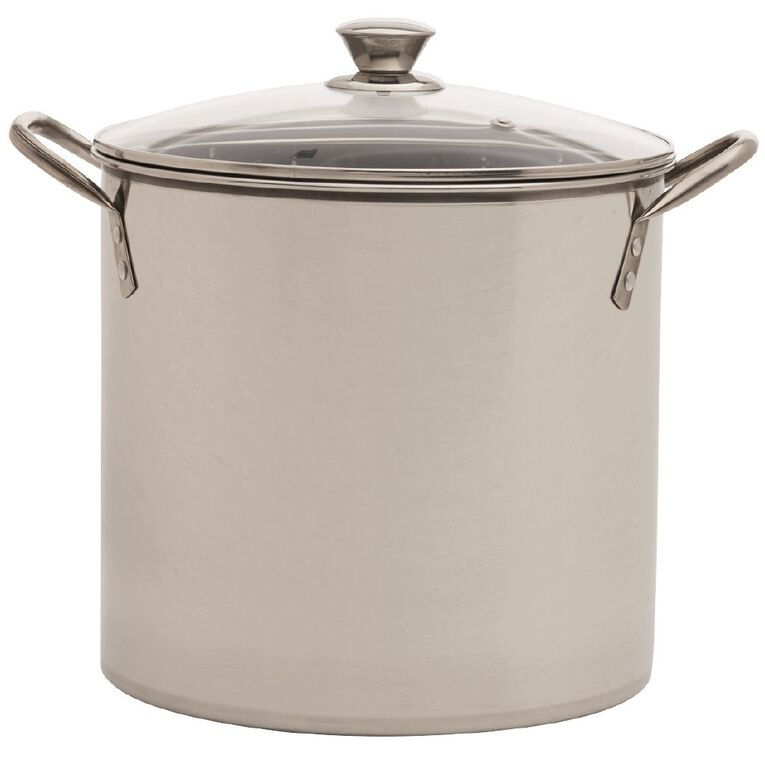 Living & Co Stainless Steel Stockpot with Glass Lid Silver 10L, , hi-res