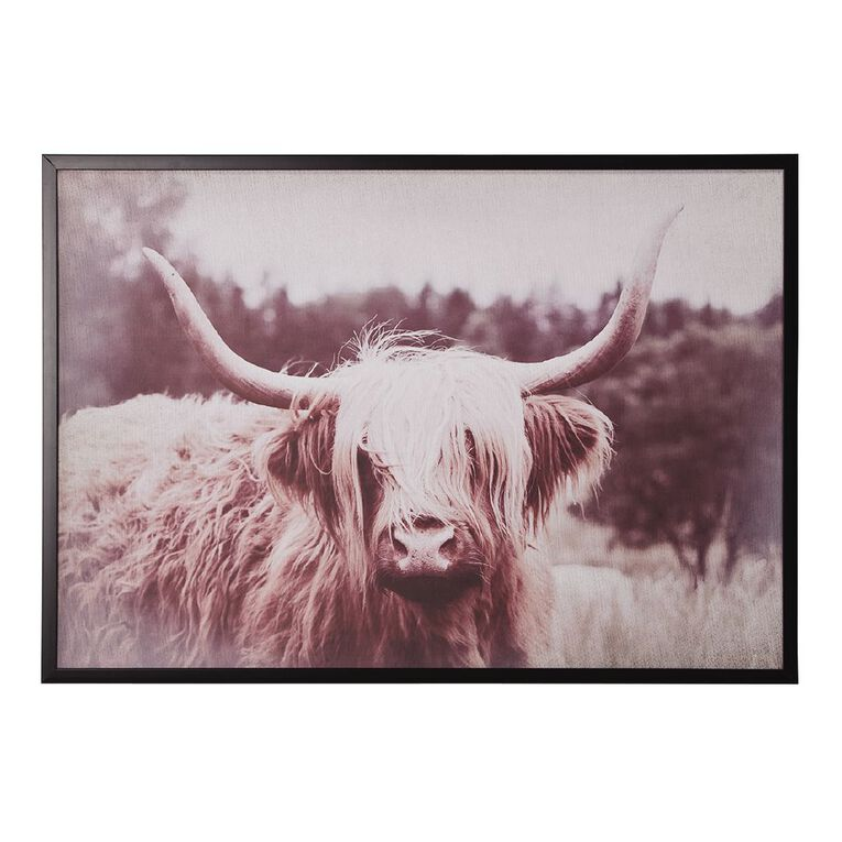 Living & Co Highland Cow Grazing Framed Print Black 70 x 100 x 2.3cm, Black, hi-res