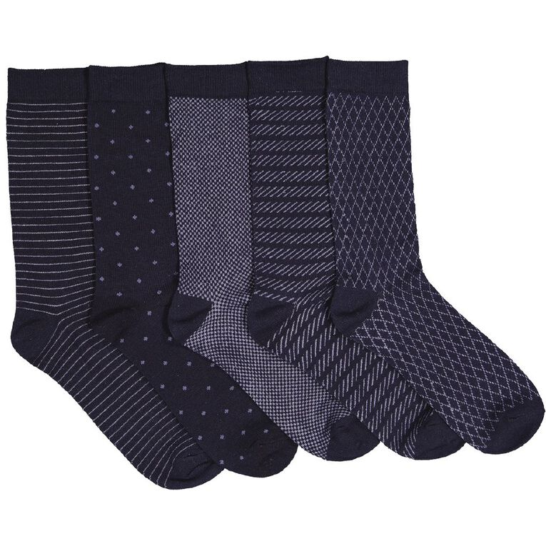 H&H Men's Business Crew Socks 5 Pack, NAV-110107752-1, hi-res image number null