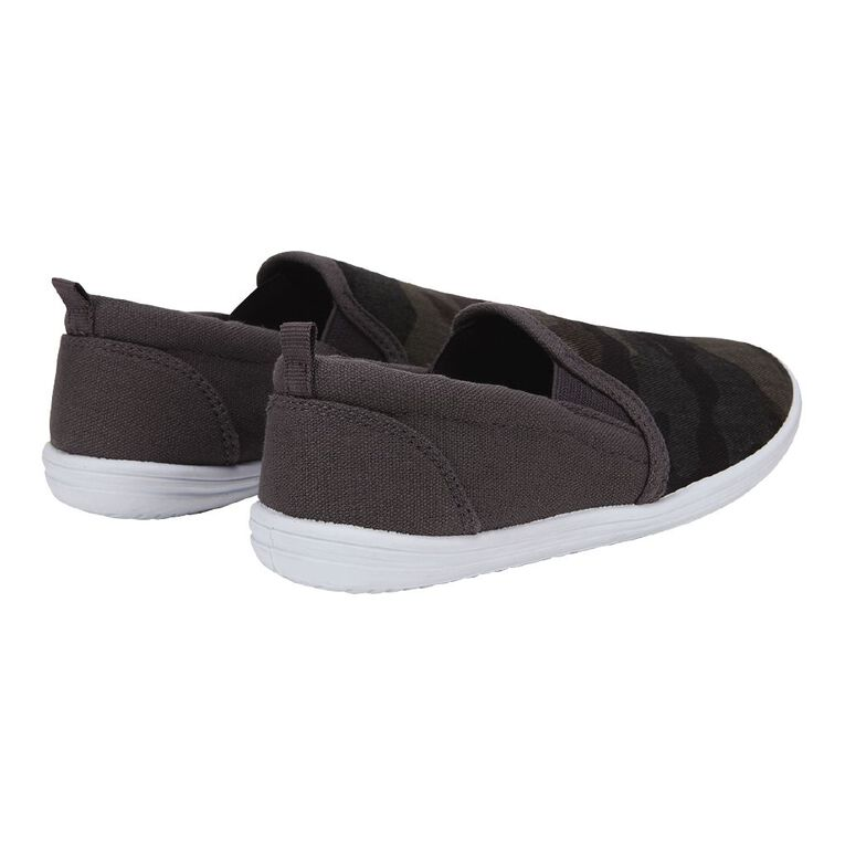 Young Original Kids' Camo Print Slip On Canvas Shoes, Grey, hi-res