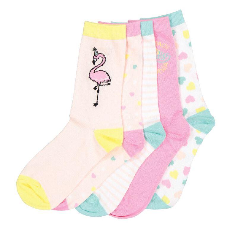 H&H Girls' Jacquard Crew Socks 5 Pack, Pink Mid, hi-res image number null
