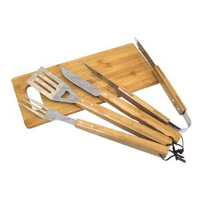 Gascraft Stainless Steel & Bamboo BBQ Tool Set 5 Piece
