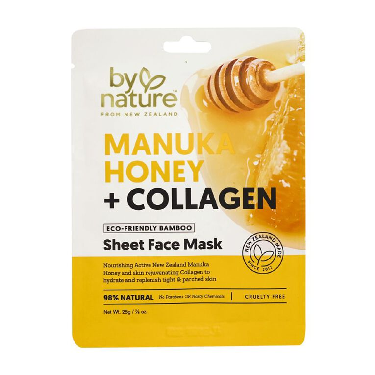By Nature Manuka Honey and Collagen Sheet Face Mask 25ml, , hi-res