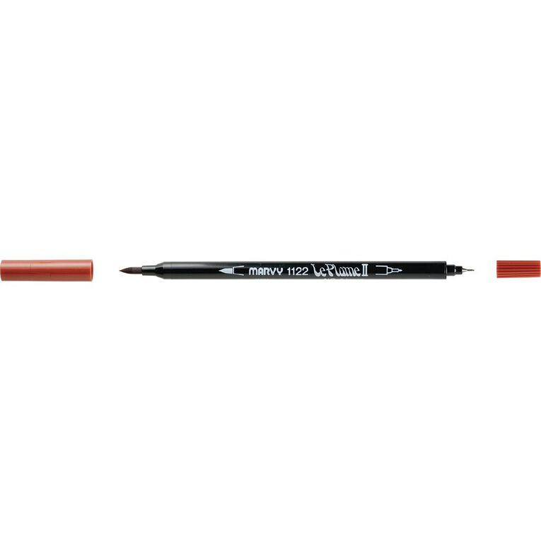 MARVY Le Plume II Dual Tip Marker Brown, , hi-res