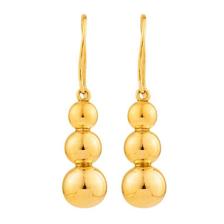 9ct Gold Ball Drop Earrings, , hi-res