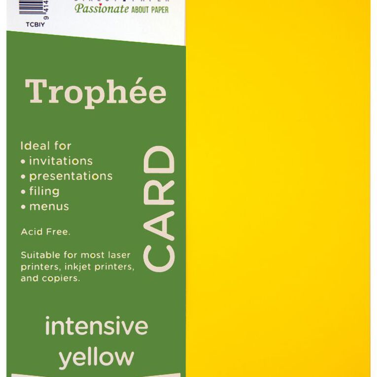 Trophee Card 160gsm 100 Pack Intensive Yellow A4, , hi-res