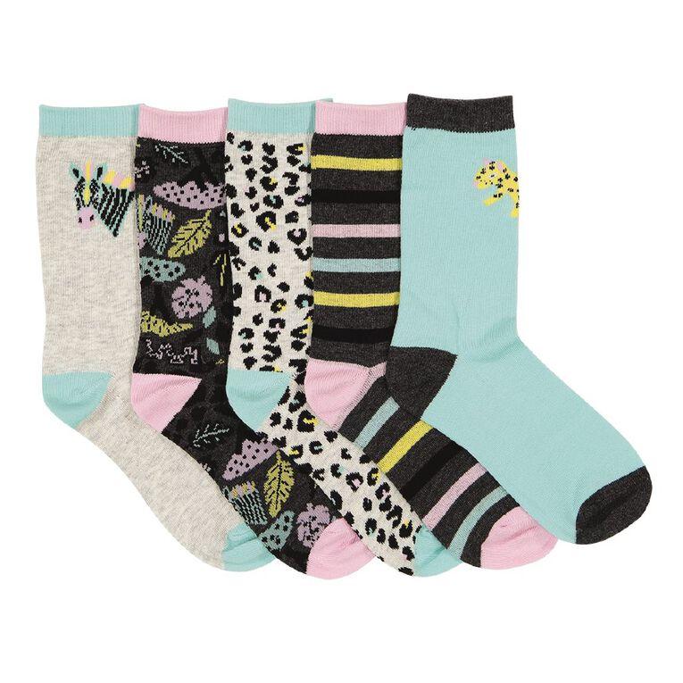 H&H Girls' Jacquard Crew Socks 5 Pack, Grey Light, hi-res image number null