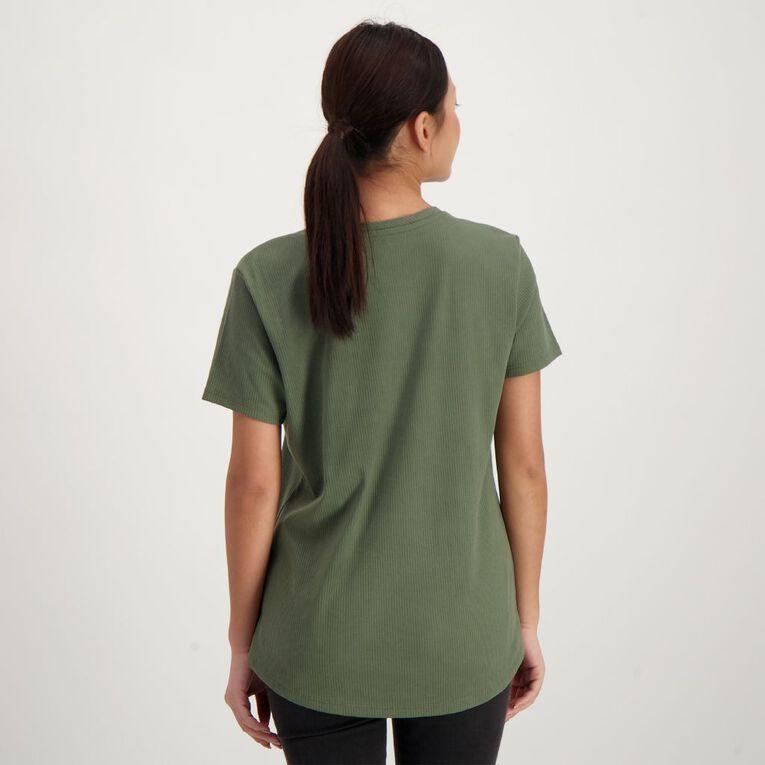 H&H Women's Rib Scoop Tee, Green Dark, hi-res